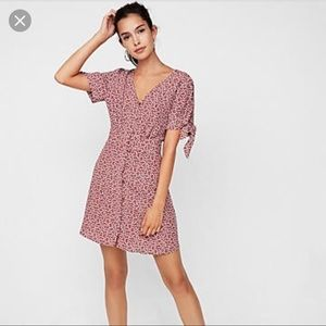Express Polka dot tie dress with sleeves